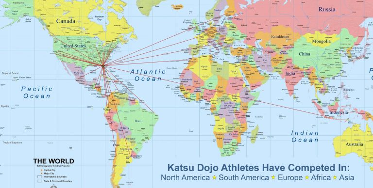 Map showing countries where Katsu Dojo athletes have competed.